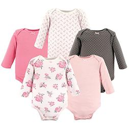 Hudson Baby Baby Long Sleeve Bodysuits, Pink Floral 5-Pack,