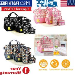 Baby Nappy Changing Bag Set Mat Mummy Bag Bottle Mat Holder