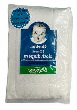 Gerber Baby Organic Cotton 10 Pack Prefold Cloth Diapers Wit
