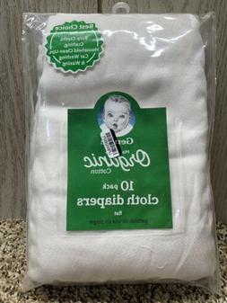 Gerber Baby's Organic Cotton 10pk Flatfold Birdseye Diaper