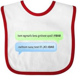 Inktastic Baby Texting Dad Baby Bib Father Cell Phones Diape