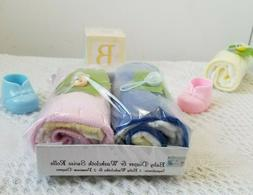 Baby Washcloth & Diaper Swiss Rolls Baby Shower Gift Set