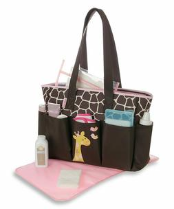 Babyboom Brown & Pink Giraffe Diaper Tote bag With Changing