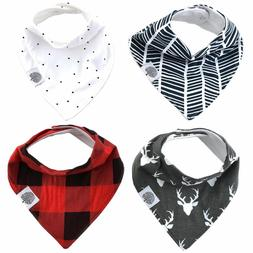 Parker Baby Bandana Drool Bibs – 4 Pack Baby Bibs for Boys