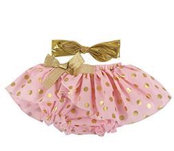 Stephan Baby Birthday Girl Gold Shimmer Dot Diaper Cover Tut