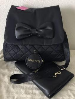 BETSEY JOHNSON BLACK BOW 3PC BABY INSULATED BACKPACK DIAPER