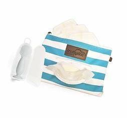 Blue BabyBum Diaper Clutch + Gray Mini Diaper Cream Brush -