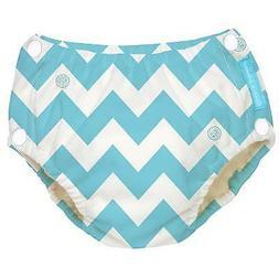 Charlie Banana Blue Chevron Cloth Swim Diaper 28-55lbs XL Ec