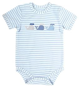 Stephan Baby Blue Stripe Snapshirt-Style Diaper Cover, Three