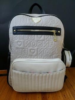 Betsey Johnson Bookbag Diaper Bag New Cream White Black Cat