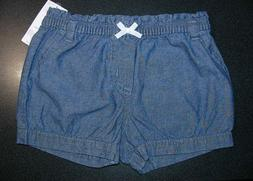 CARTER'S BABY GIRL BLUE CHAMBRAY DENIM SHORTS BLOOMERS DIAPE