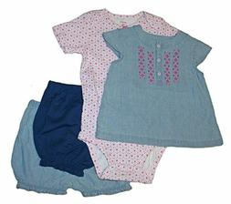 Carter's Baby Girls 4 Piece Mix Match Short Clothes Set Diap