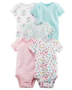 Carter's Baby Girls 5 Pack Bodysuit Set, Florals, 24 Months