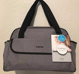 CARTER'S Duffle Unisex Diaper Bag Grey/Black w Changing Pad