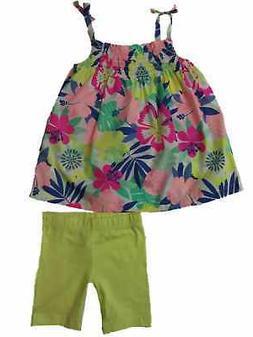 Carters Infant Toddler Neon Tropical Flower Dress & Diaper C