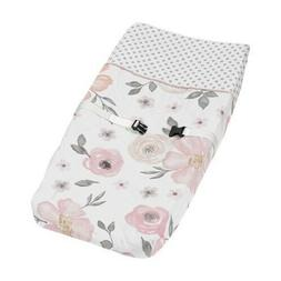 Sweet Jojo Changing Table Pad Cover For Pink Grey Floral Gir