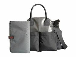 Skip Hop Chelsea Downtown Chic Diaper Satchel, Charcoal Shim