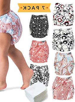 Cloth Diapers - 7 Piece Reusable Diaper Cover Set - Bonus 7