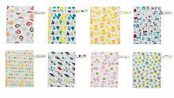 "KAWAII BABY CLOTH DIAPERS WETBAG 2 ZIPPERED POCKETS 13.50"" x"
