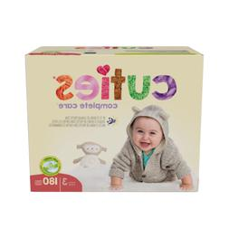 Cuties Complete Care Baby Diapers, Size 3, Case of 180