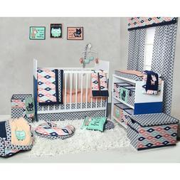 Coral Mint Navy 10 Piece Nursery Crib Bedding Set Mobile Dia