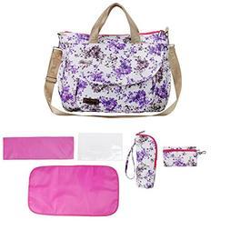 larsuyar 6 Pieces Baby Bag Tote Set, Flower Baby Diaper Bag