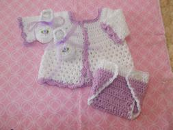 Handmade Crochet Baby Boy Sweater, Diaper Cover Booties Set