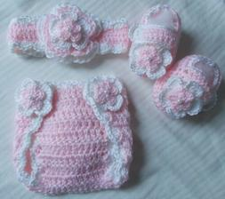Crochet Baby Girl Diaper Cover Outfit 0/3 months MADE TO ORD