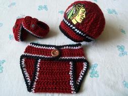 Crochet Chicago Blackhawks Baby Boys Hat, Diaper Cover and B