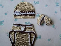 Crochet Personalized Baby Boys  Hat, Diaper Cover and Bootie