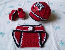 CrochetChicago Bulls Baby Boys Hat, Diaper Cover and Booties