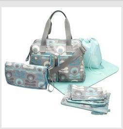 Deluxe Satchel Baby Diaper Bag 7-Piece Set in Grey/Teal