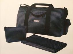 Cherubini Designer Diaper Bag -Blk/Charcoal Signature Stripe
