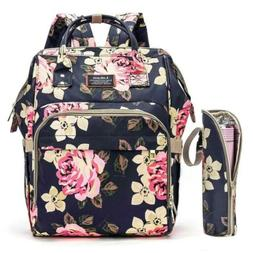 Diaper Bag Backpack Floral Baby Bag Water-Resistant Baby Nap