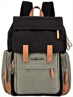 Rascal Gear Diaper Bag Backpack in Gray and Black with Two L
