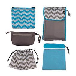 J.L. Childress Diaper Bag Organizer 5 Piece Set, Grey/Chevro