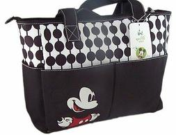 Diaper Bag Tote Large Disney Mickey Mouse Black White NWT