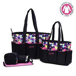 Diaper bag,Kuoser 5 pieces Polka Dot Diaper bags set Waterpr