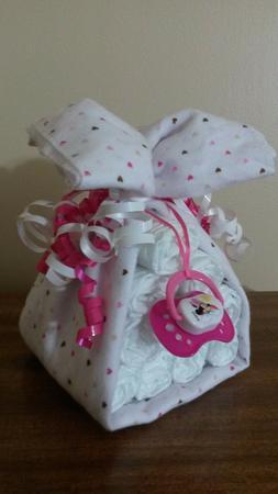 Diaper Cake Stork Bundle Hearts Baby Shower Gift for Girl