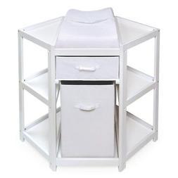 Badger Basket Diaper Corner Baby Changing Table with Hamper