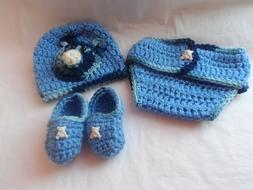 DIAPER COVER.BABY.BOY.CROCHET SET.2/5 MONTH OLD.BABY HAT.MOC