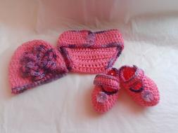 DIAPER COVER.BABY. GIRL.CROCHET SET.2/5 MONTH OLD.BABY HAT.S