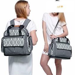 Lekebaby Large Diaper Tote Bag Backpack Messenger for Mom in