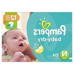 Diapers Newborn / Size 0 , 104 Count - Pampers Baby Dry