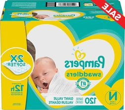 Diapers Newborn/Size 0 , 120 Count - Pampers Swaddlers Dispo
