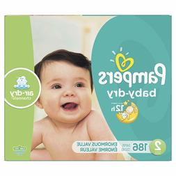 Diapers Size 2, 186 Count - Pampers Baby Dry Disposable Baby
