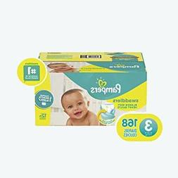 Diapers Size 3, 168 Count - Pampers Swaddlers Disposable Bab