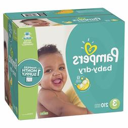 Diapers Size 3, 210 Count - Baby Dry Disposable Baby Diapers