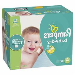 Diapers Size 4, 186 Count - Pampers Baby Dry Disposable Baby