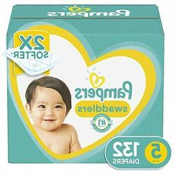 Diapers Size 5 132 Count - Pampers Swaddlers Disposable Baby